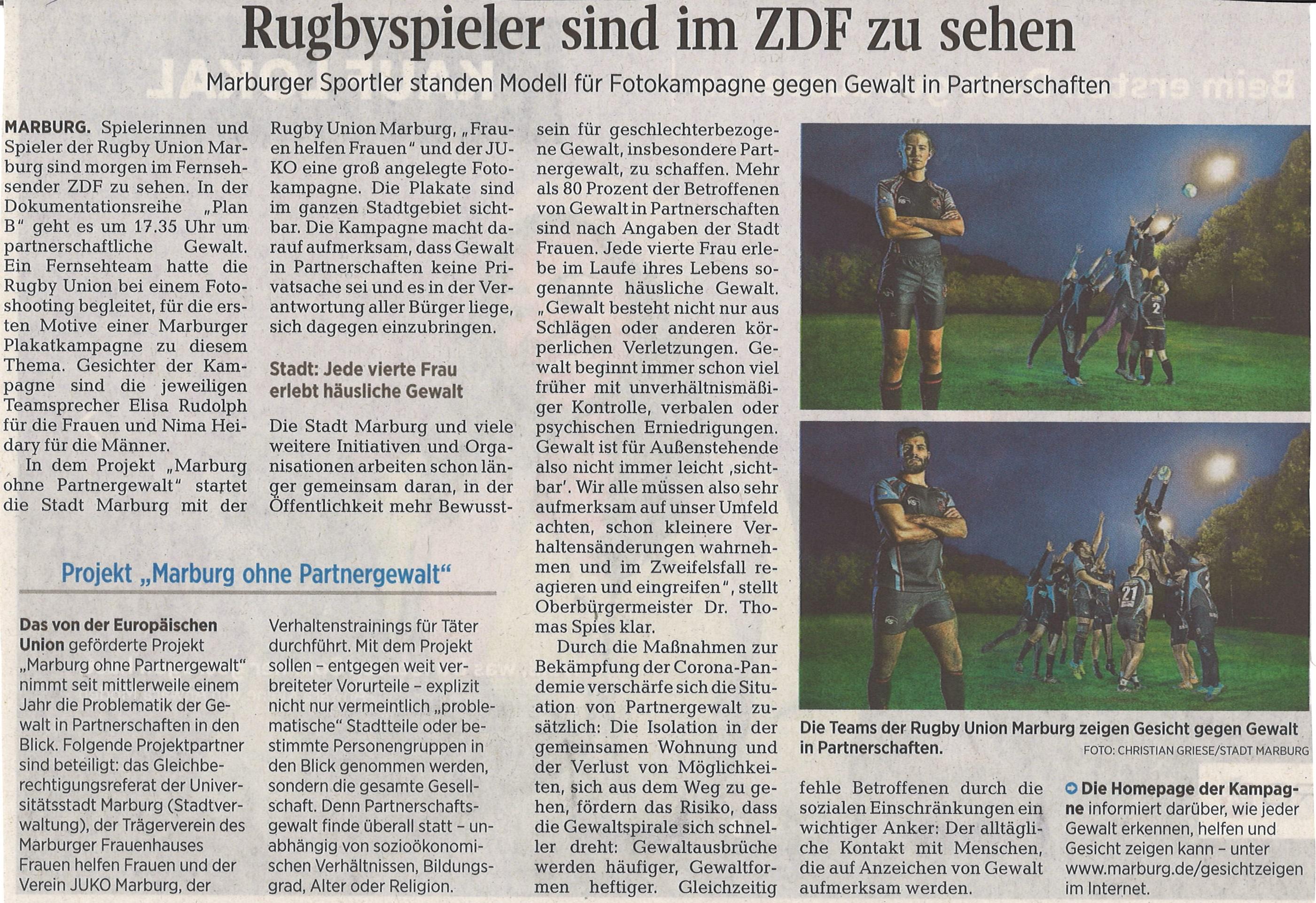 Marburger Rugbyspieler sind im ZDF zu sehen