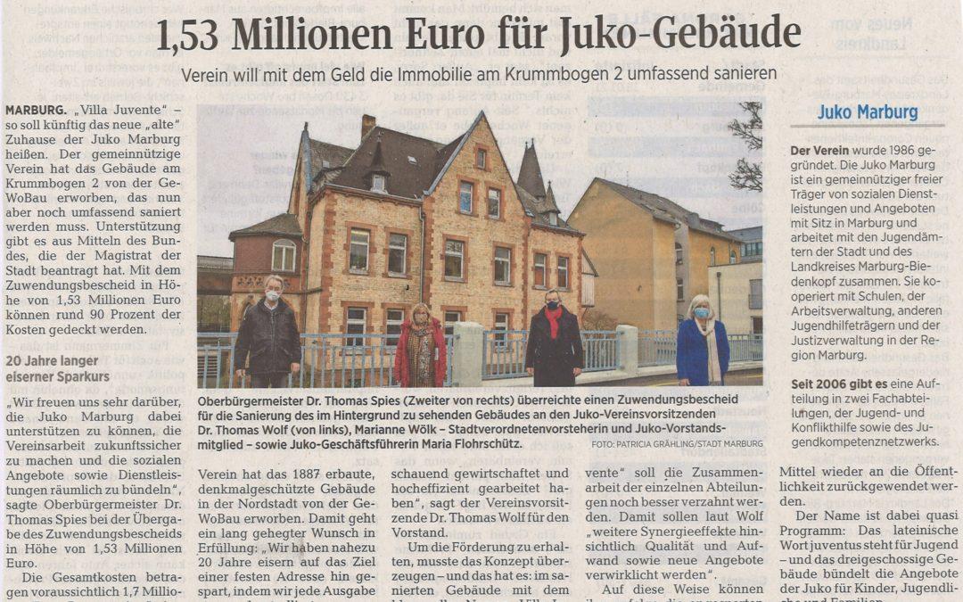 Zuwendungsbescheid über 1,53 Millionen Euro für die Sanierung der Immobilie Krummbogen 2