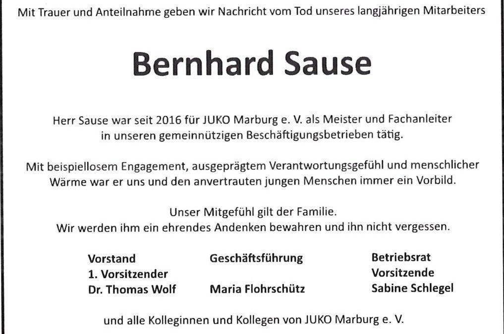 Wir trauern um unseren Kollegen Bernhard Sause